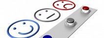 Smiley face, neutral face and sad face with buttons