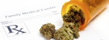 Medical marijuana coming out of a pill bottle on a prescription form
