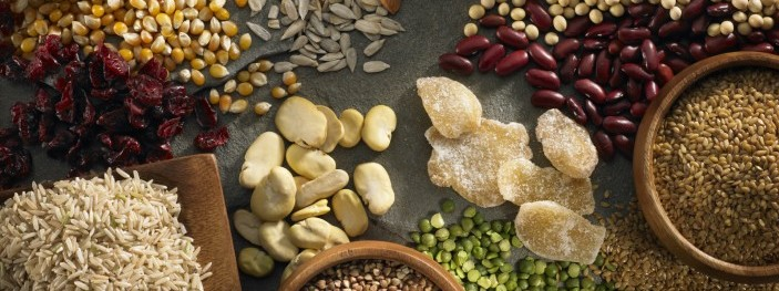 Various grains, cereals and dry fruits