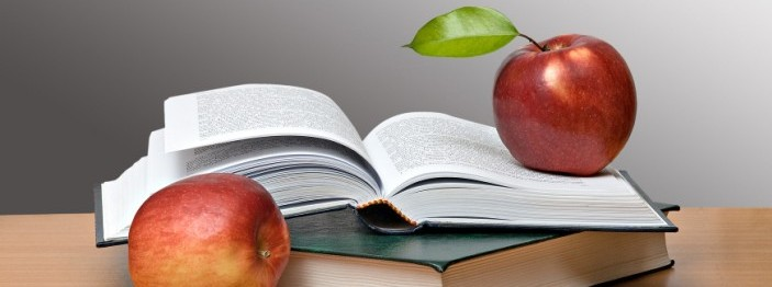 Red apples and open book